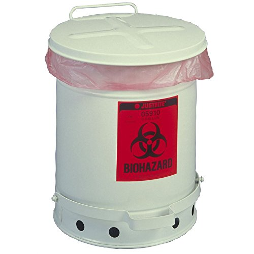 Justrite 5930-DS 10 Gallon Biohazard Waste Can, 10 Gallon Large
