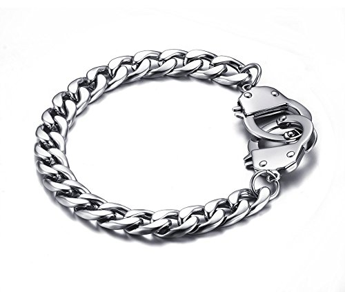 Vnox 17mm Men's Women's Stainless Steel Cuban Link Chain Handcuff Love Bracelet ,20.5cm Length