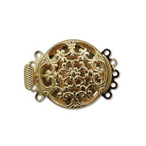 Five Strand Gold Tone Round Filigree Push Pull Box Clasp - Multi-Strand Clasp - 3 (Filigree Clasp Bracelet)