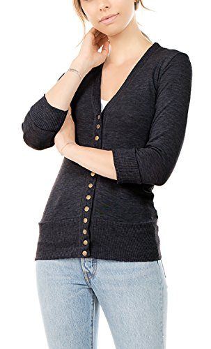 Vialumi Women's Solid 3/4 Sleeve Cardigan with Ribbed Details Charcoal (Ribbed Detail Cardigan)