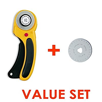 The maximum sharpness / Made in Japan /OLFA 45 mm High-quality tungsten steel Ergonomic Rotary Cutter & 45mm Rotary Blade Refill, 1-Pack Value Set from The maximum sharpness / Made in Japan /OLFA 45 mm High-quality tungsten steel Ergonomic Rotary Cutter &