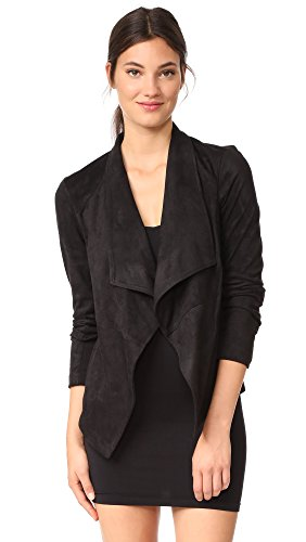 BB Dakota Women's Wade Drape Front Faux Suede Jacket, Black, Small (Dakota Womens Jeans Bb)
