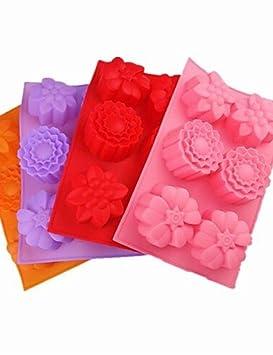 3 agujeros moldes pastel de forma de flor del Hielo de gelatina de chocolate: Amazon.es: Hogar