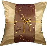 Artiwa Vegus Gold Floral 16''x16'' Silk Couch Bedroom Decorative Throw Pillow Cover Gift Idea