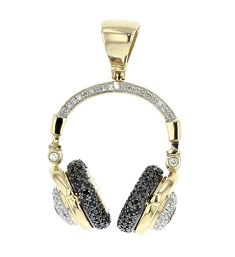 (Midwest Jewellery 10K Gold Head Phone Pendant DJ Charm Black and White Diamonds 0.90ctw 36mm)
