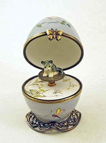 Porcelain Musical Egg - Authentic French Porcelain Hand Painted Limoges Box Butterfly Musical Egg with Striped Cat Key