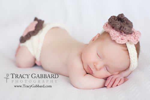 Layered Flower Diaper Cover and Headband Set Knitting Pattern - 3 Sizes Included