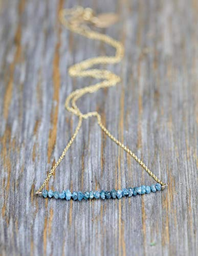 "Raw Rough Diamond Gemstone Bar Necklace - Teal Blue diamonds- 17"" Length"