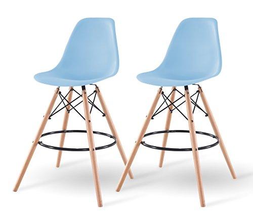 IRIS Mid-Century Modern Shell Barstool with Wood Eiffel Legs, 2 Pack, Sky - Sky Chair Wooden Blue