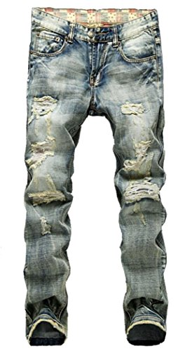 Men's Distressed Ripped Slim Jeans A953 Blue 36 ()