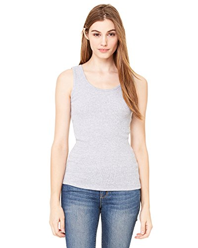 Bella+Canvas Ladies' 2x1 Rib Tank Top - Athletic Heather (90/10) - M