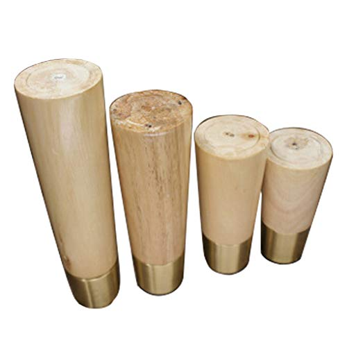 Axclg 3.9/4.7/5.9/7 Inch Round Wood Furniture Legs/Couch Chair Table Desk Cupboard Closet Bench Feet Replacement Set of 4,Available in Three Colors