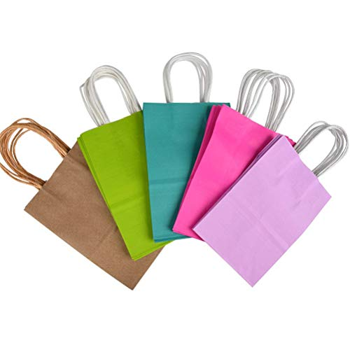 Bocotoer Kraft Paper Gift Bags Sweets Favor Bags with Handle 21 * 15 * 8cm 5 Color Pack of 20