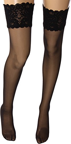 (Wolford Satin Touch 20 Denier Evening Thigh Highs, Large, Black)