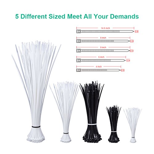 Heavy Duty Zip Ties in 4+6+8+14.6-inch, Self-Locking Nylon Cable Zip Ties Black & White (Combo Pack 700pcs) for Home/Office / Garage/Workshop by ipolex by ipolex (Image #1)