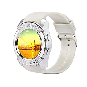 Chefcoco White Smart Watch Clock with Sim TF Card Slot Bluetooth Suitable for Apple iPhone Android Phone Smartwatch Wristwatch