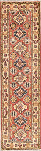 Rug Source New One-of-a-Kind Pakistani Kazak Wool Handmade Oriental 10 ft Rug Runner Red (9' 10