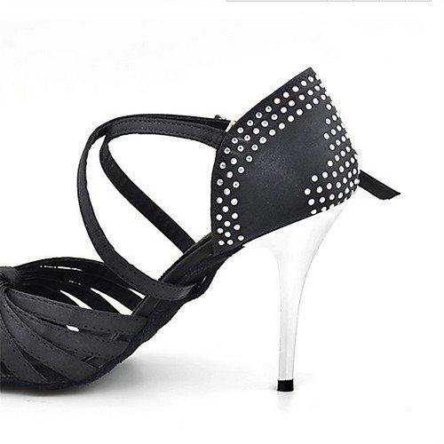 Q Satén Principiante Profesional T de Stiletto Negro T Salón de para Tacones Zapatos Rhinestone Negro Baile Baile Mujer x4qUAqF