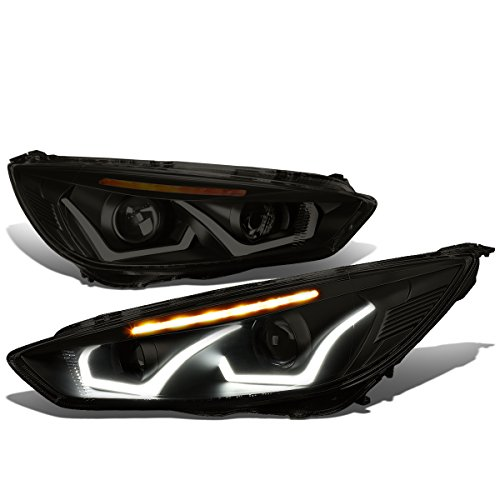 Ford Focus Black Housing Smoked Lens Amber Signal Dual U-HALO DRL + LED Turn Signal Projector Headlight - Focus Dual Halo Projector Headlights