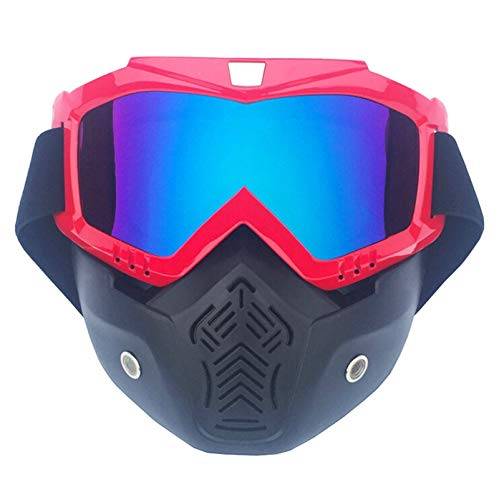 Adisaer Safety Goggles Motorcycle mask Goggles Helmet face Protection Goggles Vertical Red Muliticolor for Mens