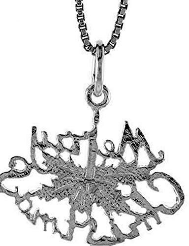 Sterling Silver Merry Christmas Pendant Charm 16mm 925 Vintage Crafting Pendant Jewelry Making Supplies - DIY for Necklace Bracelet Accessories by CharmingSS