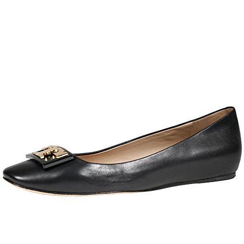 Tory Burch Gigi Ballet Flat Shoes Leather (9.5, Black) (Reva Shoes Tory Burch)