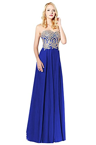 Licheng Bridal Gold Lace Appliques Sweetheart Strapless Chiffon Prom Dress Adjustable Corset Back Cocktail Dress