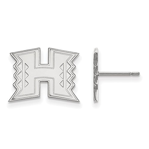 10k White Gold LogoArt Official Licensed Collegiate The University of Hawaii (UW) Small Post Earrings by LogoArt