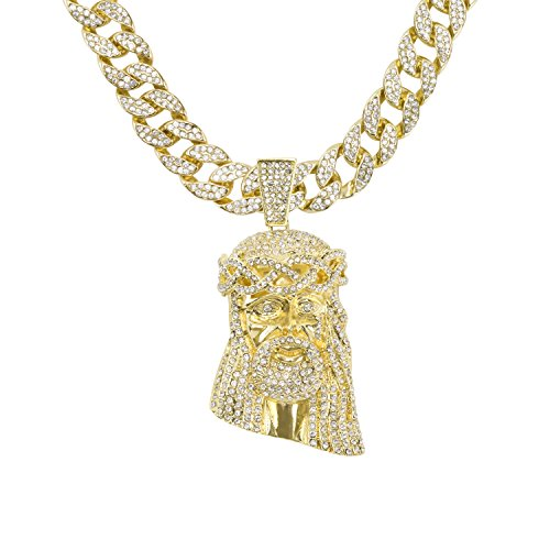 Crystal Chain Link - Jewelry4All Iced Out Jesus Pendant on 15mm Gold Plated Cuban Link Chain Covered in Simulated Diamond Crystals