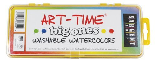 Sargent Art 66-8220 Art Time 4-Count Washable Big Ones Watercolor Pan Set with (Big Washable Watercolor)