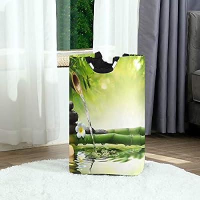 QMIN Cesta de lavandería Japonesa Zen bambú orquídea Plegable cesto de la Colada, Bolsa de Almacenamiento Grande con asa, Organizador Alto Plegable para Ropa: Amazon.es: Hogar