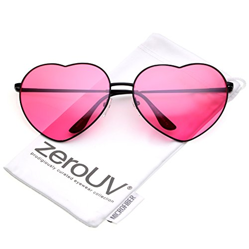 zeroUV - Oversize Thin Metal Arms Colored Lens Heart Sunglasses 70mm (Black / Hot - Frame Metal Heart Sunglasses