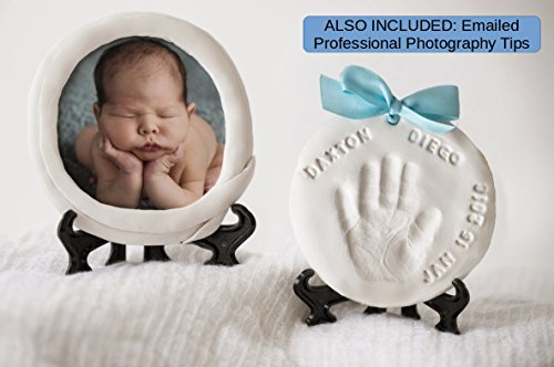 DELUXE Newborn Ornament Keepsake Baby Clay Handprint Kit and Footprint Kit with optional PICTURE -Best Decorative kit for displaying Baby's Name, Weight, Birth date, Time and Optional Photo from Garobo
