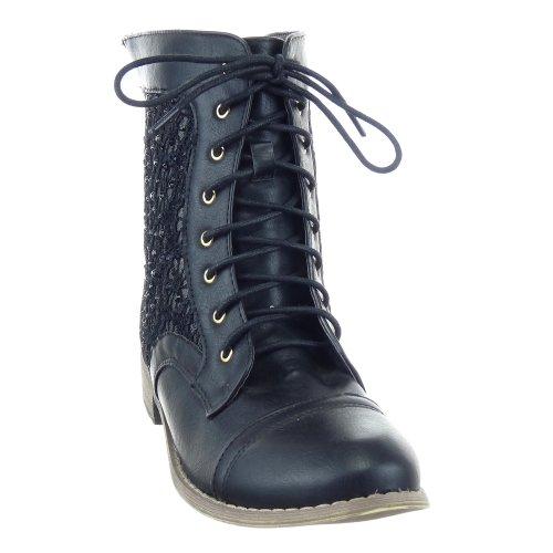 Sopily - damen Mode Schuhe Stiefeletten Combat Boots Spitze - Strass Schuhabsatz Blockabsatz - Schwarz
