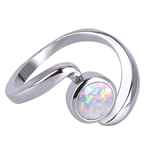 White Without Stones Ring (KELITCH Irregular Synthetic Opal Solitaire Rings Twist Silver Plated Birthstone Statement Rings (White, 6))