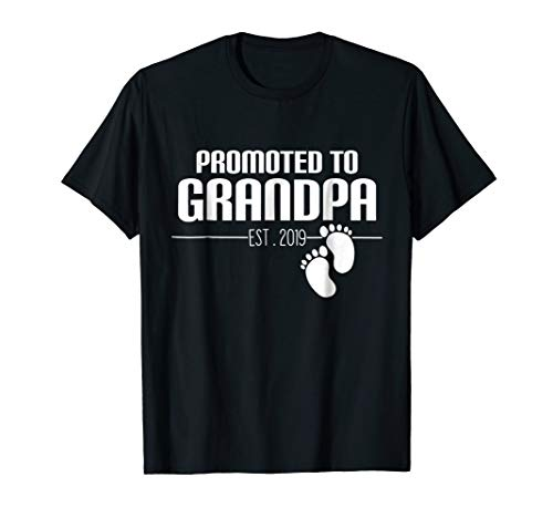 Promoted To Grandpa Est 2019 T-Shirt New Papa ()