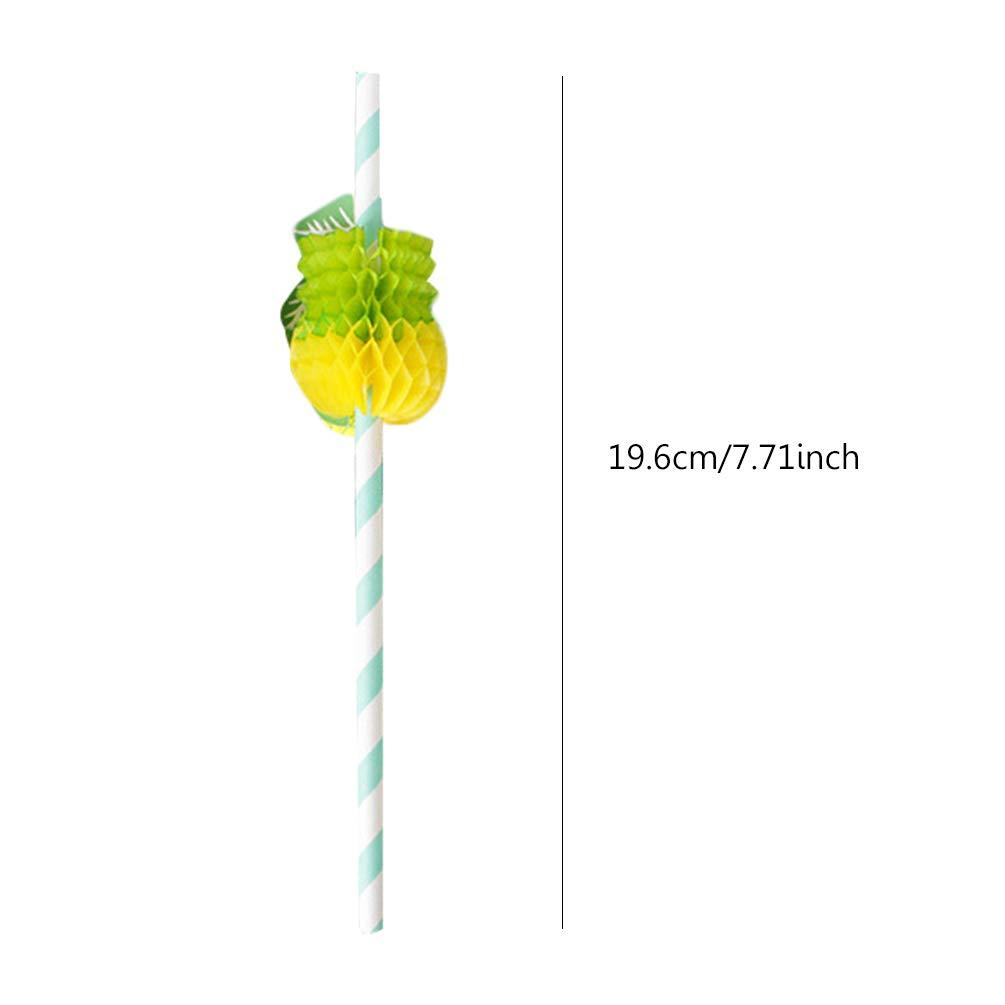 HOCOVER Paja de Papel de Pi/ña Verde 1 Pajitas de C/óctel Ecol/ógicas Desechables para la Boda de la Fiesta de Cumplea/ños