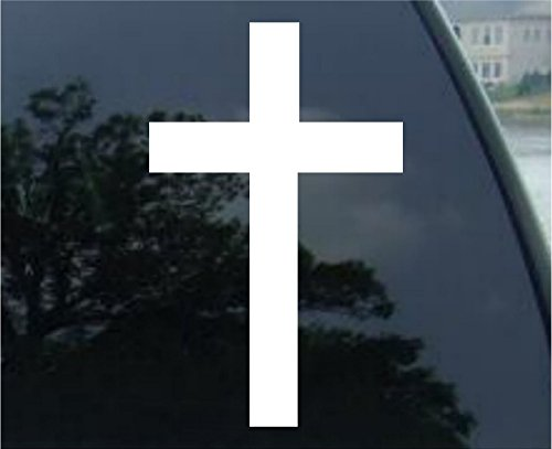 Crawford Graphix Christian Cross Jesus Vinyl Decal Sticker- Die Cut Decal Bumper Sticker for Windows, Cars, Trucks, Laptops, Etc. (6