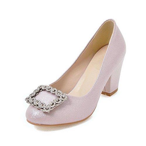Zapatos De Tacón Alto De Tacón Alto Para Mujer Allhqfashion Con Punta Redonda Y Rosa