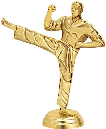 6 Personalized Martial Arts Side Kick Trophy On Black Base Crown Awards Martial Arts Trophies with Custom Engraving