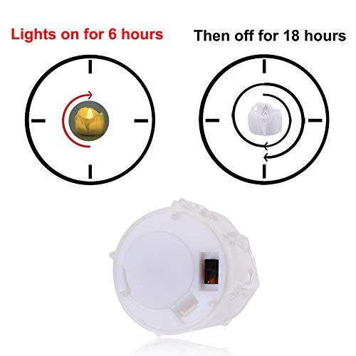Timer Candles, 12pcs PChero Battery Operated LED Decorative Flameless Candles Flickering Tea Light, 6 Hours On and 18 Hours Off Per Cycle, Perfect for Birthday Wedding Party Home Decor - [Warm White] by PChero (Image #5)