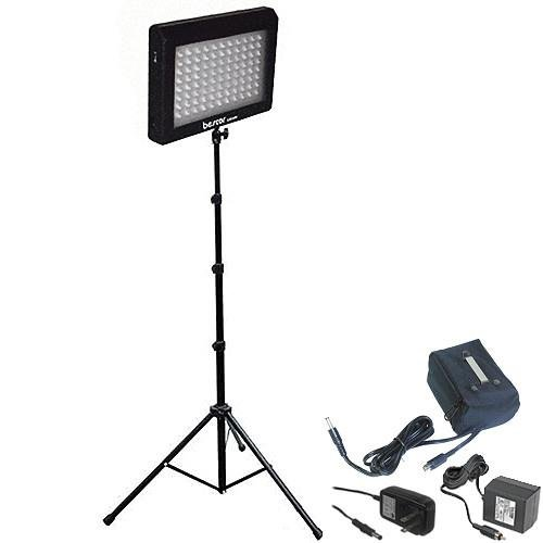 Bescor LED95DSB 95W Single LED Studio Lighting & Battery Kit, Includes LED-95DK2 LED Light, Light Stand, AC Adapter, External Battery with Charger