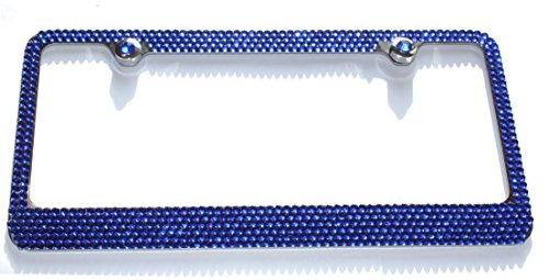 Blue Rhinestone Cover - Hotblings 6 Row SAPPHIRE BLUE Rhinestone Cover Crystal Bling Sparkle Metal License Plate Frame & Screw Caps Set