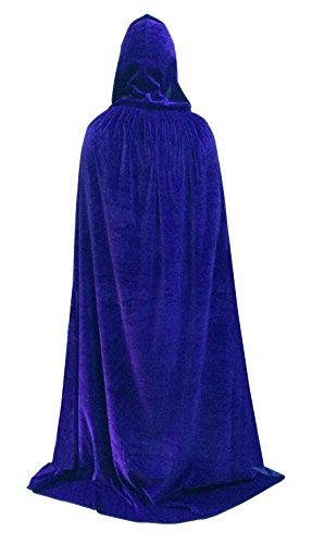 Beautifulfashionlife Unisex Hooded Cloak Role Halloween Cape Play Costume Full Length Blue 130cm ()