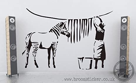 Amazoncom Banksy Zebra Stripes Wash Vinyl Wall Sticker Cm X - Zebra stripe wall decals