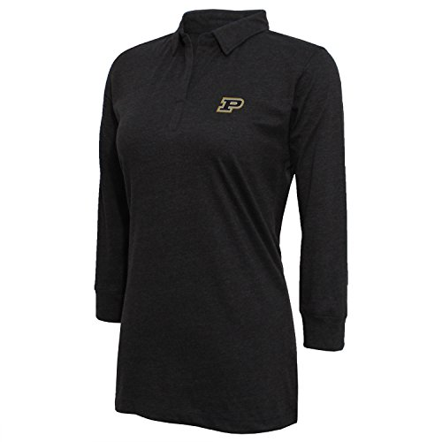 NCAA Purdue Boilermakers Women's Campus Specialties 3/4 sleeve Jersey Polo, Large, Heather Black