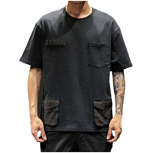 Fastbot Men Shirts Short Sleeve Polo Shirt Slim fit Casual Fashion Patchwork Pockets O-Neck T-Shirt Tops Black
