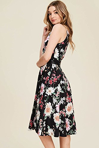 Black with Neck Boat Women's Annabelle Pockets Swing Floral A Poplin Print dc3167b Line Dresses Vintage 1OPOqdx