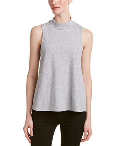 Splendid Womens Mock Neck T-Shirt, M, Grey