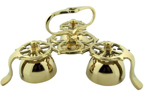 (Religious Gifts Church Goods Gold Brass 9 Inch L Three Bell Standing Chapel Sanctuary Bells with)